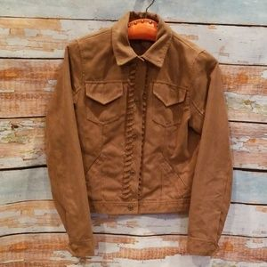 """Hollister California Tan Suede """"Stitched"""" Jacket!"""